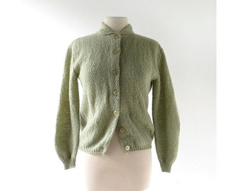 Vintage Mohair Cardigan / Lichen Green Sweater / 60s Sweater / Medium M