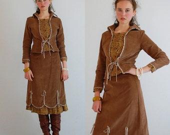 Lolita Prairie Set Vintage Shades of Brown Cotton Corduroy LOLITA Blouse and Skirt Set (s m)