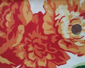 FL021 ~ Floral fabric Orange Red geraniums Flower print Cotton fabric