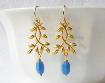 Blue Branch Earrings,  Up cycled Jewelry by Perini