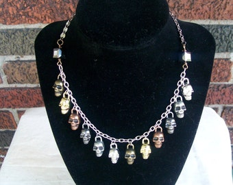 Skulls of My Enemies - Skull Charm Statement Necklace - Edgy Goth Halloween Jewelry