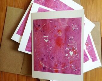 Alchemy Symbolism, Greeting Cards, Blank Cards, Crescent Moon, Medieval Symbols, Spiritual, Celestial, Pink, Purple, Vibrant Card, Moon