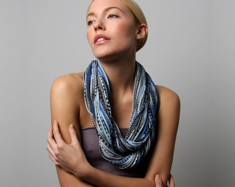 Gift for Women, Burning Man, Girlfriend Gift, For Girlfriend, Womens Gifts, For Her, Gifts for Mom, Infinity Scarf, Chunky Scarf, Blue Scarf