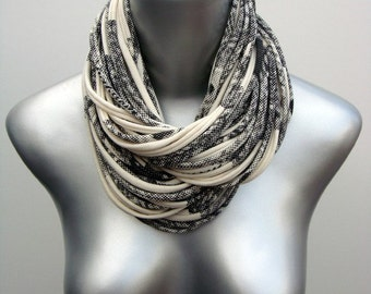 Gift For Her, Cowl Scarf, Chunky Scarf, Winter, Gift, White Scarf, Gray Scarf, Womens, Cowl Scarf, Girlfriend, Wife, Mom, Grandma, Sister