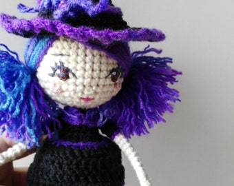 Crochet Witch Art Doll with Cat - handmade cute cotton purple hair pigtail girl witch broom purple and black amigurumi cat sitable doll toy