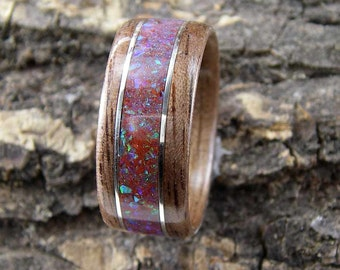 Bentwood Ring Walnut with Red Fire Opal Inlay and Sterling Silver Accents