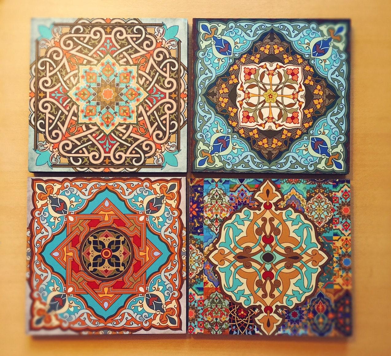 Hamsa Wall Art moroccan wall art set hamsa block set of 4 hamsa wall art