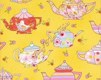 "Free Spirit / Dena Designs / Tiddlywinks ""Teatime"" Teapots #PWDF182-Yellow Fabric Priced Per 1/2 Yd."