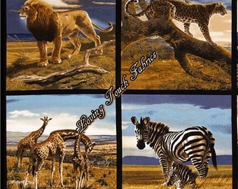"8 Blocks / RK ""Bringing Nature Home"" #14047-286 Wild Exotic Jungle Animal Cotton Fabric Panel"