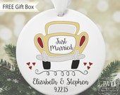 Just Married Car Ornament Personalized Our First Christmas Married Ornament Couples Gift Wedding Gift -  Item# JMC-O