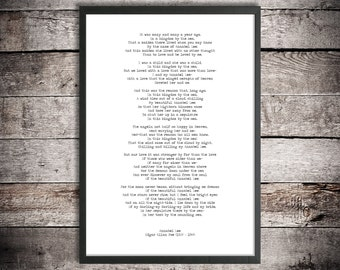 Edgar Allen Poe Digital Download Poem 'Annabel Lee' Instant Printable Poetry Love Poem Romantic Gift Love After Death Poster Hand Typed Gift