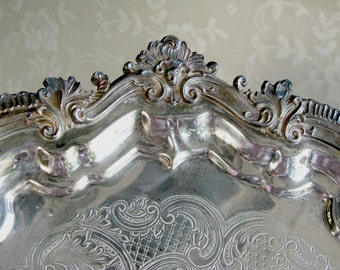 "Ornate Vintage Silver Tray 13"" Round Heavy Footed Silver Plate Tray Shabby Cottage French Home Decor"