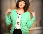 Vintage Green Soft Cardigan Sweater - Size M