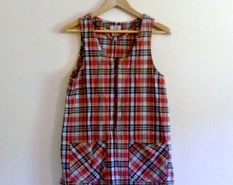 PREVIOUSLY 27.00 - Vintage 90s Grunge Red Plaid Tunic - Size S