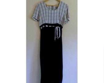 Vintage Grunge Plaid Bodice Dress with Slit - Size S