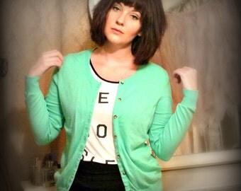 Vintage Green Soft Cardigan Sweater - Size M