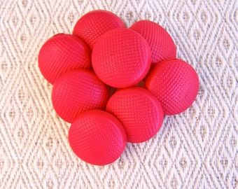 Red Vintage Plastic Buttons 16mm - 5/8 inch Bright Red Mod Shank Buttons - 8 VTG NOS Red Pebbled MidCentury Modern Sewing Buttons PL330