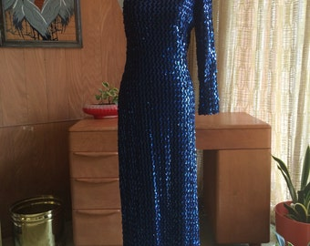 Vintage 70s 80s CLIMAX by David Howard Fully Sequined One Shoulder Maxi Evening Gown