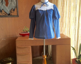 Vintage 70s Peasant Blouse Little House on Pairie Victorian Puff Sleeve