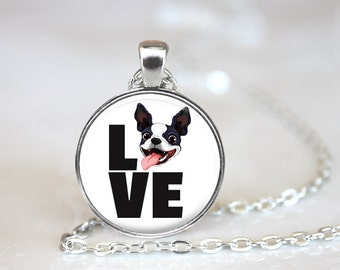 Boston Terrier Love Changeable Magnetic Pendant Necklace and Paw Print Organza Bag