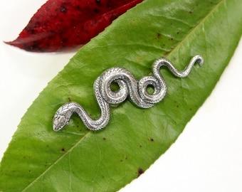 Silver Snake Pin  Silver Garden Snake Brooch Silver Garter Snake Jewelry 091