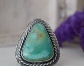 Crow Springs Turquoise Ring Size 9.5 Sterling Silver