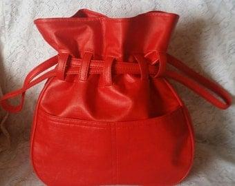 Vintage, Lipstick Cherry Red, Ahead of it's Time, Vinyl, Mod, Drawstring, Handbag, Purse