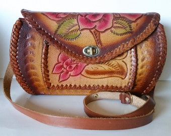 Vintage Boho-Chic Tooled Leather, Color Rubbed Roses, Leaves and Scrolls Handbag
