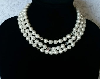 Vtg JAPAN Multi 3-Strand White Iridescent, Faux, Pearl Bead & Crystal Adjustable Necklace