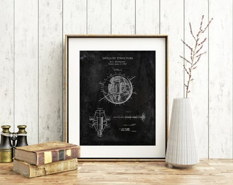 1957 Satellite Structure patent print, astronomy art print, science art print, science patent, space art, satellite blueprint, husband gift