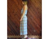 extra 25% off SALE ... Light Rainbow Pastel Southwestern Tribal Maxi Skirt Vintage 80s MEDIUM M
