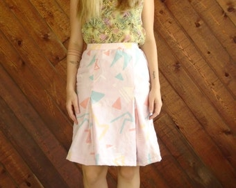 Pink Printed Pleated High Waist Skirt - Vintage 80s - XS S