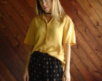 Mustard Gold SILK s/s Blouse Tunic - Vintage 80s - 42 LARGE
