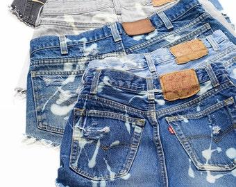 Custom Size Vintage LEVI'S BLEACHED Denim Cutoff Shorts Distressed Jean Shorts Pick Your Color