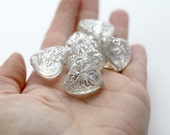 Crystal Silver Carved Etched Heart Opaque Acrylic Beads 24mm (6)
