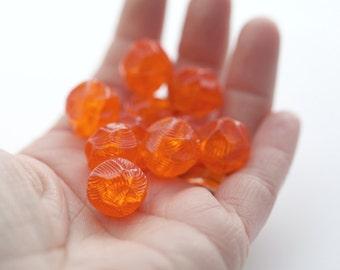 Vintage Carved Etched Orange Nugget Lucite Beads 16mm (10)