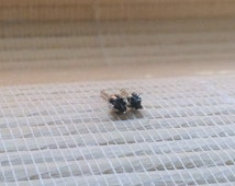 Black Diamond Stud Earrings Rough 3mm