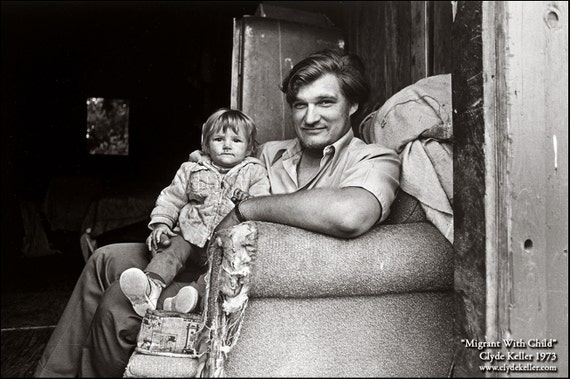 MIGRANT WITH CHILD, Washington County, Clyde Keller photo, 1973, Fine Art Print, Black and White, Signed