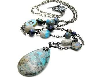 Blue Agate Pendant Necklace,