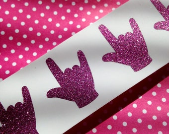 20 Pink Glitter ASL ILY Stickers for American Sign Language I Love You