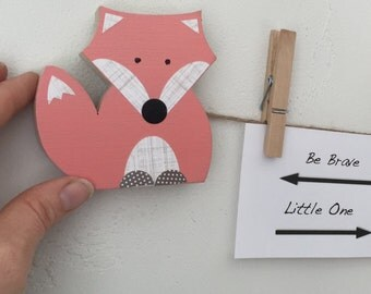 Fox Art Display Clips, Coral Pink, Woodland Themed Decor, Woodland Themed Kids, Woodland Themed Nursery, Orange or Gray, eco friendly