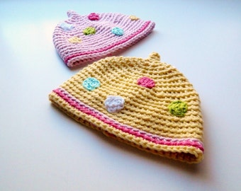 SALE Set of 2 Matching Polka Dot Girl Hats Photo Props Baby Photography Twins 3 6 9 12 months