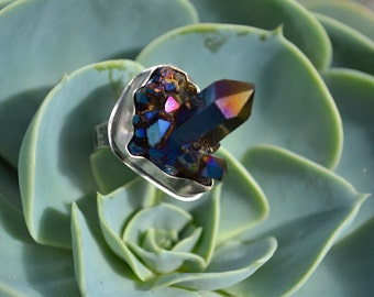 Colbalt Aura Crystal Ring Sterling Silver Chunky, Cocktail Ring Ready to Ship Size 8 3/4