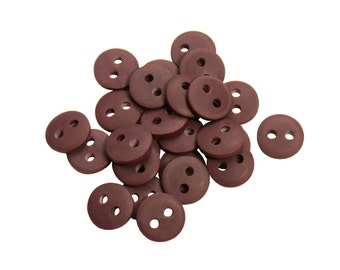 Set of 25 Smooth Round Plastic 2-Holed Buttons - The Simplest Solid Mocha Brown (10mm)