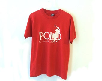 POLO Club Ralph Lauren 90s Red T Shirt Screen Stars Best Made in USA Large