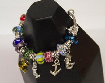 Mermaid European Style Charm Cuff -  Bracelet Bangle Glass Beads Under the Sea