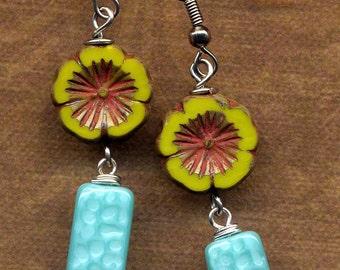 Turquoise Earrings, Dangle Teal Earrings, Aqua Long Earrings, Green Czech Glass Earrings, Surgical Steel Earrings, Handmade by Annaart72