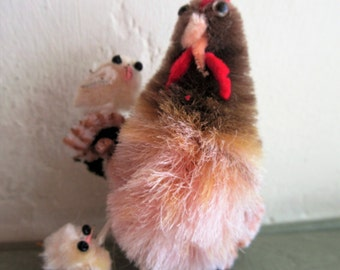 Vintage Chicken, Hen and Chicks, Fuzzy Chicken, Cute Kawaii Zakka, Cute Chicken, Wire Legs, Chicken and Chicks, Vintage Craft Supply