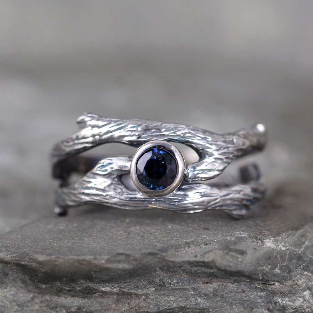 Blue Sapphire Twig Style Engagement Ring And Wedding Band Set