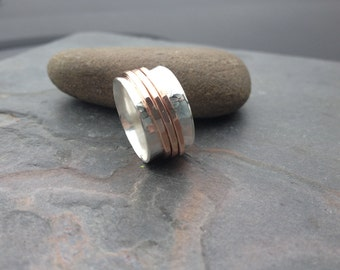 spinning ring - Rose gold and sterling silver spinner ring - mixed metal - fidget ring